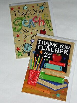 JUST 36p THANK YOU TEACHER CARDS X 12, 2 DESIGNS X 6, WRAPPED, FOILED (B170