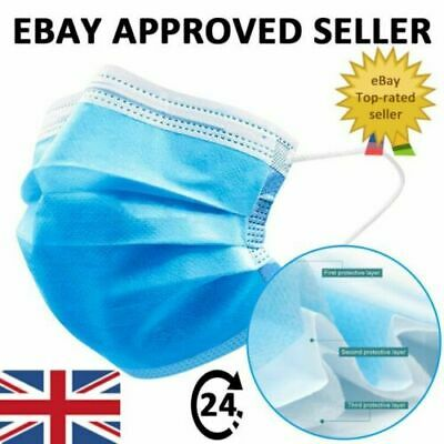 Surgical Face Mask 3Ply Disposable Face Mask & Nose Protection Hygiene UK SELLER