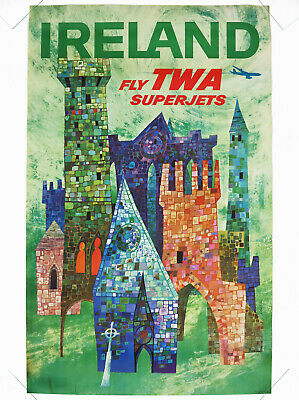 IRELAND – FLY TWA SUPERJETS, Original Travel Poster, David Klein