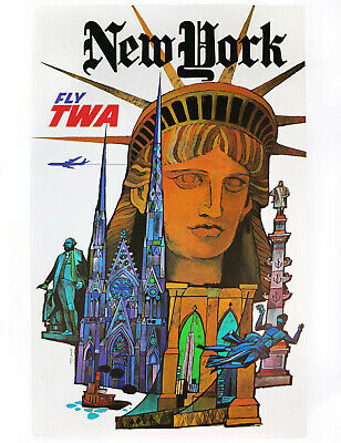 NEW YORK – FLY TWA, Original Travel Poster by David Klein, ca. 1960