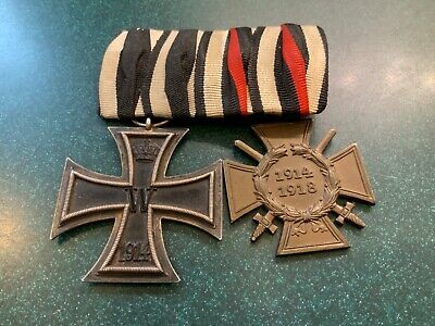 2 Wwi German Iron Cross Medals On 1 Badge