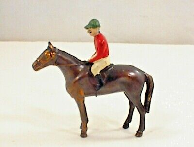 Vintage Cast Metal Race Horse Jockey Saddle Figurine Miniature Diecast