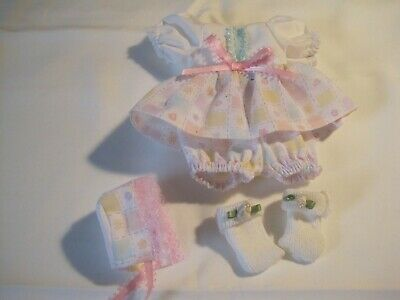 Handmade checkered hearts dress, panties, bonnet and socks fits doll 7-8-9 inch