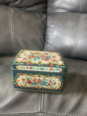 Vintage Daher TIN Box Floral Hinged Lid Victorian Style Made in England Small 4""