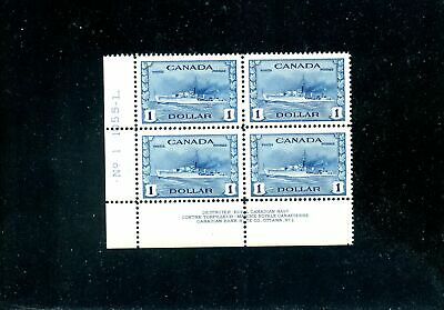 Lot 83447 Mint Nh 262 Ll Plate 1 : $1 Destroyer Ship  Canada