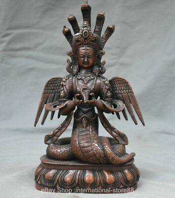 "10.4"" Old Tibet Rdd Copper Buddhism 5-Heads Snake Naga Kanya Sculpture"