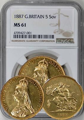 Great Britain - 1887 5 Sovereigns / 5 Pounds - NGC MS-61. Extremely Undergraded!