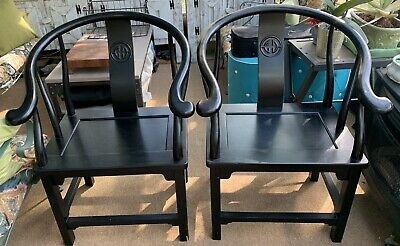pair VINTAGE CHINESE HORSESHOE ARM CHAIRs MING DYNASTY style