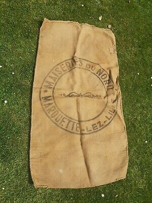 Vintage French Hemp Grain mill Sack Linen Hessian Material  Upholstery printed