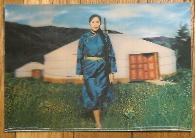 Stereo Flicker 3D Post Card PC Asia East Mongolia MNR Woman clothes Yurt House
