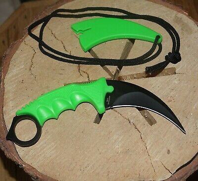 Tactical Combat Karambit Neck Knife Survival Hunting Bowie Fixed Blade Bio Green