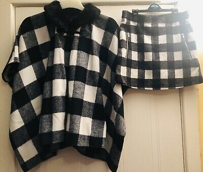 Nutmeg Black And White Shawl With Batwing Sleeves And Skirt Set 11-14