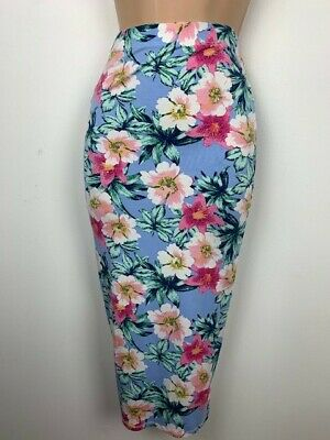 Floral Bodycon Midi Skirt Size 8 Stretch Exc. cond