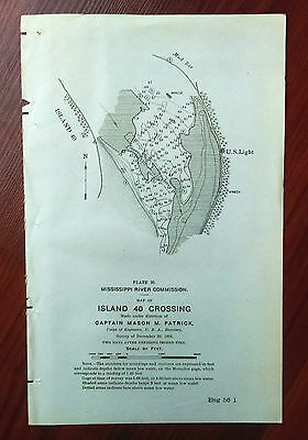 1898 Sketch Map Island 40 Crossing Mississippi River