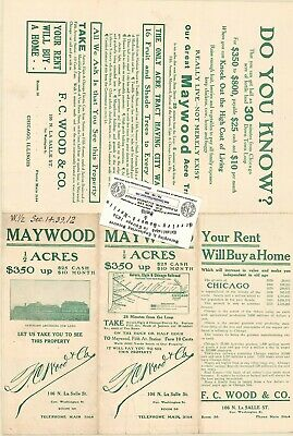 Chicago Antique 1910 Advertisement Map of MAYWOOD, IL: F.C. Wood's Addition
