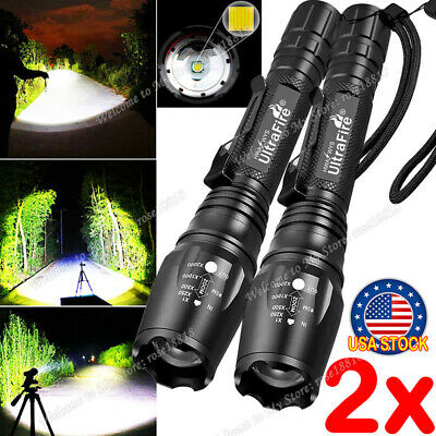 2PCS Tactical 350000LM Zoomable Focus T6 LED High Power Flashlight 186**50 Torch