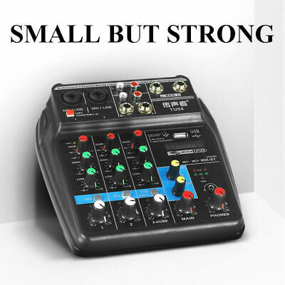 4 Channel USB Audio Mixer Mixing^Console with Bluetooth Record 48V Phantom Power