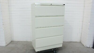 Office/Home/Garage Planex Lateral Filing Cabinet 4 Drawer Cream Metal 41624/3