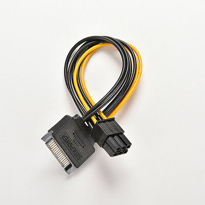 20cm SATA 15 Pin Stecker zu 6 Pin PCI-Express Stromkabel adapterkabel RSDE
