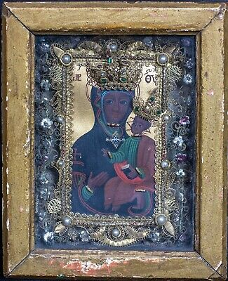 19th Century European Gilt Gold Pearl Jewel Madonna & Baby Icon Oil Painting