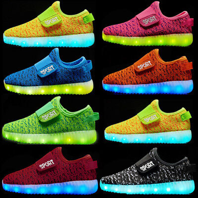 UK Kids Boys Girls Light Up Shoes LED Flashing Trainers Casual Sneakers NEW SIZE