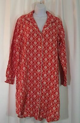 Lands End new nwot flannel nightgown pajamas   M 10 12 red Nordic