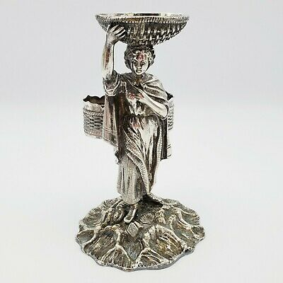 Antique English Silver Plated Figural Fishwife Condiment Caddy 1871