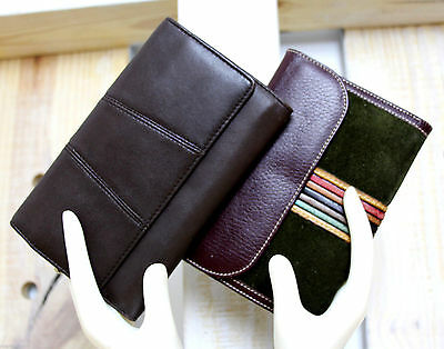 LOT 2pc BROWN GREEN MULTICOLOR STRIP GENUINE LEATHER ORGANIZER WALLET COIN PURSE
