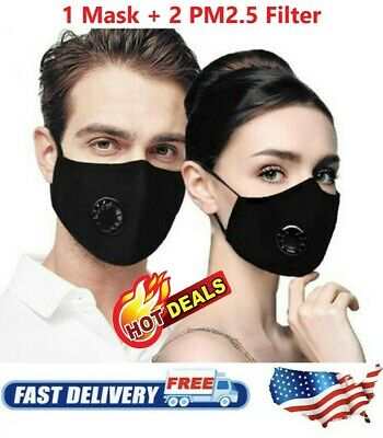 Cotton Face Mask With 1 Filters Washable Reusable Activated Carbon respirator