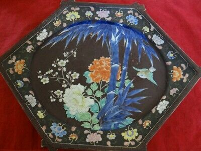 Antique Chinese Japanese Asian Large Porcelain Painted Platter Tray Signed