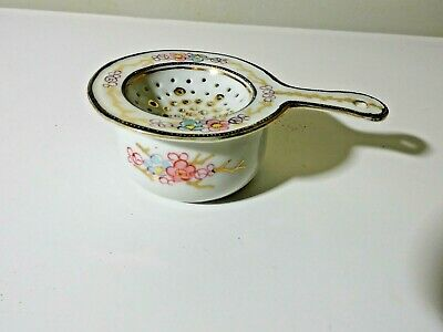 Antique Japan Hand Painted Tea Bag Strainer 2 Piece Very Nice