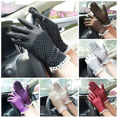 Women's Fashion Cotton Summer Gloves Lace Patchwork Gloves Anti-skid Sun