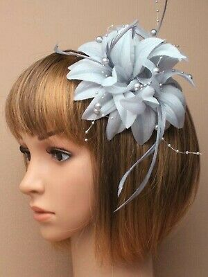 Silver Grey Beaded Feather Fascinator Clip Brooch Pin Hat Races Wedding Ascot UK
