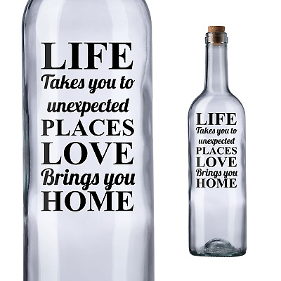 Vinyl decal sticker ONLY BOTTLE NOT INCLUDED IDEAL FOR WINE BOTTLE LIFE