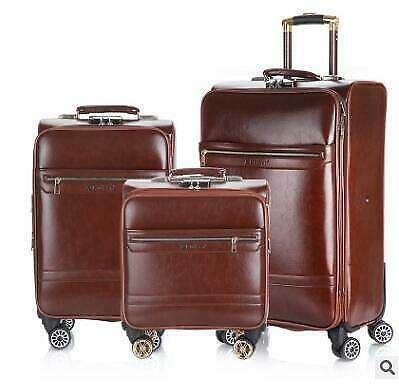 """Men Travel Suitcase Spinner Trolley Leather Rolling Wheels Suitcase 18"""" 20"""""""