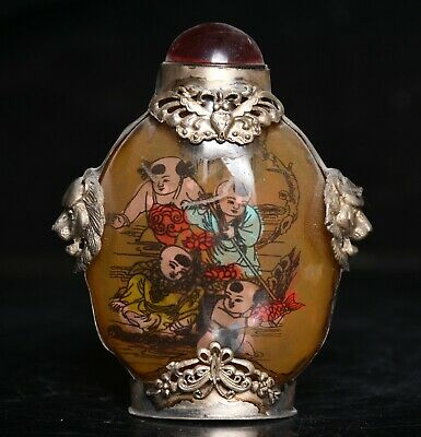 """3.6"""" Old China Glass Silver Inner Painting Dynasty Child Fish Snuff bottle Box"""