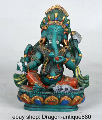 "4"" Old Tibet Turquoise Painted 4 Arms Ganesh Lord Ganesha Elephant Buddha Statue"
