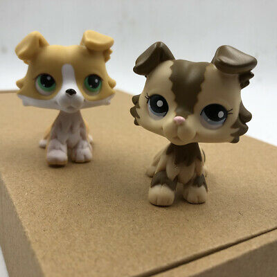 2x Pet Shop LPS Brown Pink Collie Dog #2210 #272 Puppy Doll Collection Toy Rare