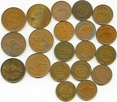 Australia 1/2 & One Penny   lot of (20) vintage coins   lotmay5048