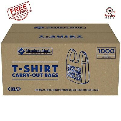 T-Shirt Thank You Plastic Grocery Store Shopping Carry Out Bag (1000ct.)