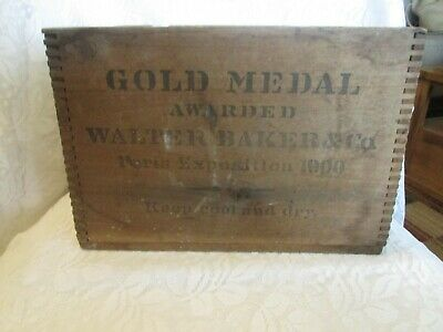 Antique Vintage Wood Box Advertisng Walter Baker & Co. Chocolate