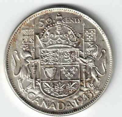 Canada 1943 50 Cents Half Dollar King George Vi Canadian .800 Silver Coin