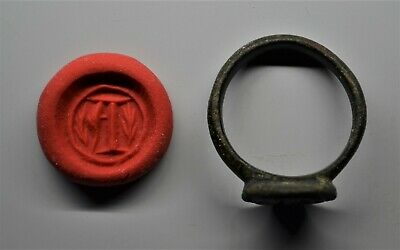 "Superb Medieval Bronze Intaglio Seal Ring: Letter ""A"".  14Th-15Th Century. E.f."