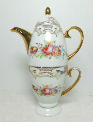 Sorelle Tea For One 3 Piece Set Fine Porcelain Cup & Pot Floral Gold Trim