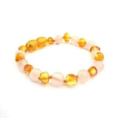 Polished Honey Amber & Rose Quartz Bracelet anklet