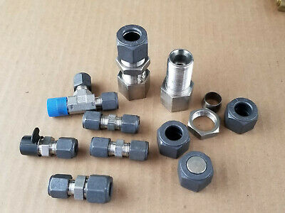 Assorted Parker Compression Fittings CPI Series 316 Stainless Steel