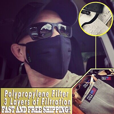 USA Face Mask Military Style High Quality Reusable Polypropylene Filters