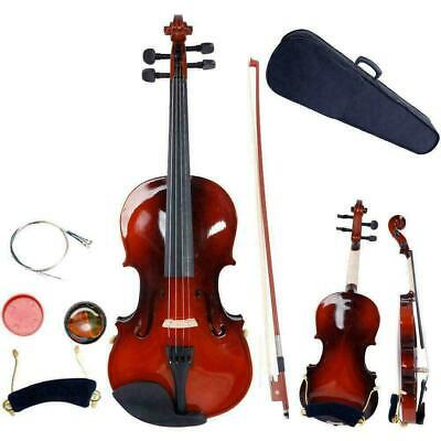 Size 1/4 Natural Acoustic Violin with Case Bow Rosin Strings Tuner Shoulder Rest
