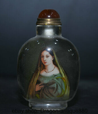 """3.4"""" Old coloured glaze Inside Painting occidental Woman Snuff box snuff bottle"""