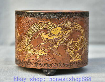 """4"""" Old Chinese Purple Bronze Gold Dynasty Palace Dragon incense burner Censer"""